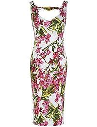 Pretty Kitty Fashion Weiß Rosa Blumen Wiggle Kleid