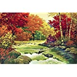 ART DIOR   Landscape Décor - Jungle River With Yellow, Red & Orange Theme   Canvas Wall Art   Unframed Canvas Wall Art Print Only   24 Inch X 18 Inch   Alternate Size Also Available  