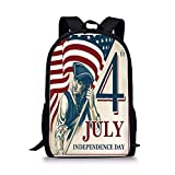 gthytjhv 4th of July Decor,Watercolor Stylized American Soldiers Happy Independence Day War Picture,Red Blue Boy Girl School Backpack Mens Womens Sports Bag