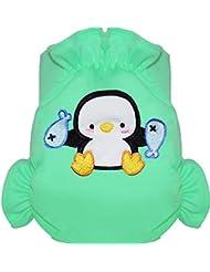 Eliott Et Loup Pingouin Maillot de bain couche à Scratch ajustable Enfant 0-3 ans Vert Taille Unique Séchage Rapide