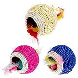 Qiuxiaoaa Pet Toy Sisal Palla Cattura Giocattolo Interattivo Gioco Cat Cattura Palla Gatto Giocattolo Cane può Grind Doppio Foro Giocattolo Badminton Colore Casuale