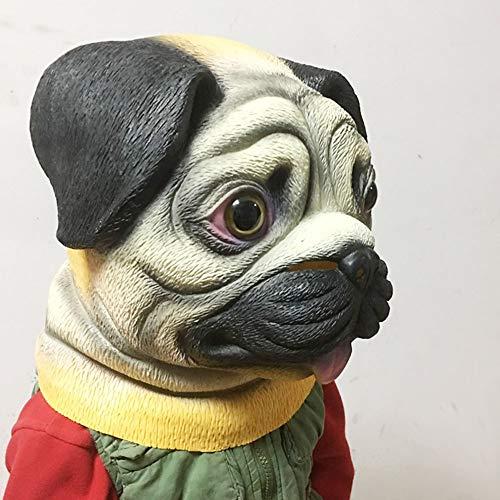 Kostüm Mops Einfach - Halloween Latex Maske Performance Mops Hund Kopfbedeckung Cartoon Maske Party Supplies Kostüm Tier Maske Spielzeug