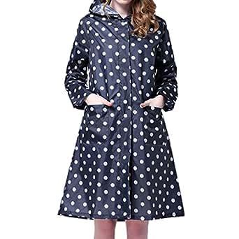 LAEMILIA Women's Long Dot Print Waterproof Raincoat Rainwear Rain Jacket Wind Coat (Blue)