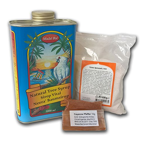 5-7 Tage Neera-Zitronensaftkur (1 Liter Neera-Baumsirup, Cayenne, Salz)