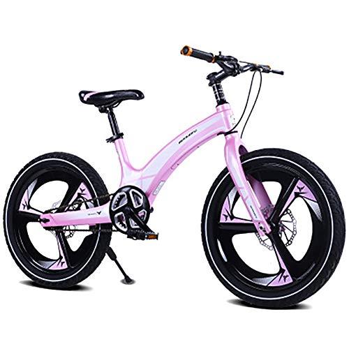 SHARESUN 20 Zoll Kinder Fahrrad für Jungen & Mädchen, magnesiumlegierung scheibenbremse Sitz einstellbare Single Speed kinderfahrräder, Mountainbike, for10-14Years Old,Pink (Für Mädchen Fahrrad-sitze)