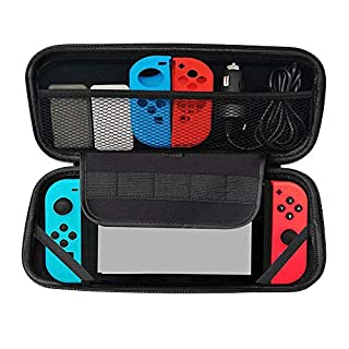 Kuou Carry Case for Nintendo Switch, Protective Hard Shell Travel Carry Case Pouch with 5 Game Cartridges, Black Portable Stroage Bag for Nintendo Switch Console & Accessories