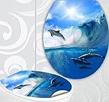 StickerProfis WC Sitz Aufkleber DELFIN WELLE Design Folie Dekor für Toilettendeckel Klodeckel incl. 2 Fliesenaufkleber