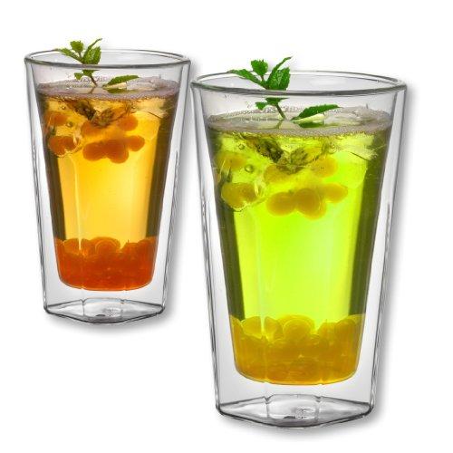 1aTTack.de 833383 Trink/Thermo-Glas 450 ml doppelwandig Modell Jule für Heiß- und Kaltgetränke