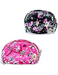 Must Visit Beautiful Pink Color ,Flower Print, Oval Shape, Zipper Colser With1 Plastic Cover Pouch Set Of 3 Multi...