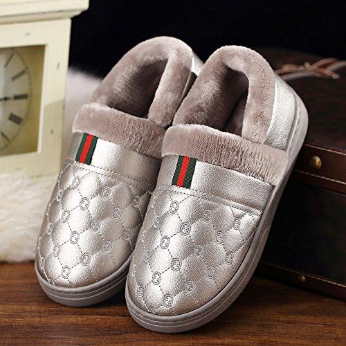 DogHaccd pantofole,Coppie scarpe di cotone uomini e donne inverno soggiorno impermeabile di spessore, antiscivolo pacchetto termale con morbida pelle pu pantofole inverno Grigio argento2