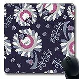 Luancrop Mousepads für Computer Geometrie Abstrakt Ethnisch Boho Blumen Muster Striche Natur Bluse Bohemian Border Canvas Design rutschfeste, längliche Gaming-Mausunterlage