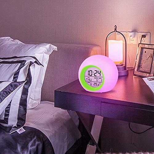 DAIKAI Multifunktionale Kinder Kinder Wecker Farbwechsel Led-Licht Weckuhr Thermometer Schlummerfunktion Digitale Tischuhr Grün 95 * 95 * 90 Mm