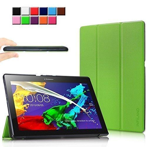 Infiland Lenovo Tab 2 A10-70 / Tab 2 A10-70L / Tab 2 A10-70F / Tab 2 A10-30F / Tab 2 A10-30L / Tab 3 10 Business/ Tab3 10 Plus Hülle Case, Ultra Dünn Tri-Fold Smart-Muschel PU Leder Schutzhülle für Lenovo Tab 2 A10-70 / Tab 2 A10-30 / Tab 3 10 Business/ Tab3 10 Plus 10,1 Zoll Tablet (mit Auto Schlaf / Wach Funktion)(Grün)