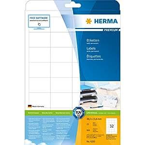 Herma 4200 Etiketten (Premium A4 Papier matt, 48,3 x 33,8 mm) 800 Stück weiß