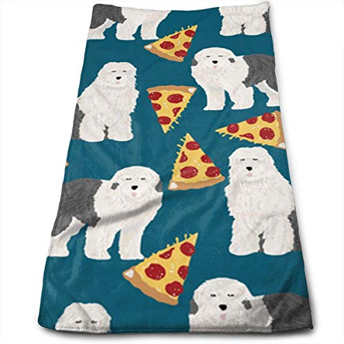 ERCGY Tibetan Mastiff Pizza with Dark Blue Background Polyester Towels Ultra Soft & Absorbent Bathroom Towels - Great Shower Towels, Hotel Towels & Gym Towels