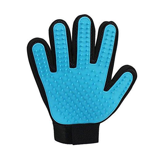 Hifuture Doppelte Silikon-Massage-Bürste für Haustier-Fellpflege, Hautreinigung, Handgelenkschlaufe, verstellbar mit Fünf-Finger-Handschuhen für linke und rechte Hand - Verstellbare Bürste