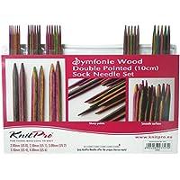 KnitPro 20650 Symfonie - Juego de agujas (2,00, 2,50, 3,00, 3,50, 4,00 mm, 10 cm, madera)