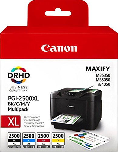 Canon Multi Pack (Canon PGI-2500XL 4 original Tintenpatrone Schwarz/Cian/Magenta/Gelb für Maxify Drucker MB5050-MB5150-MB5155-MB5350-MB5450-MB5455-iB4050-iB4150)