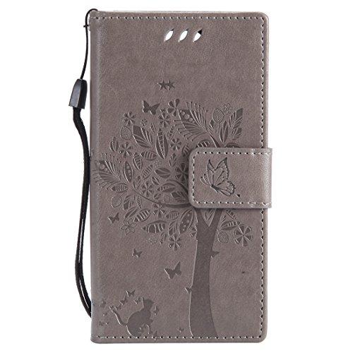 Chreey Huawei Mate 10 Pro Hülle, Prägung [Katze Baum] Muster PU Leder Hülle Flip Case Wallet Cover mit Kartenschlitz Handyhülle Etui Schutztasche [Grau]