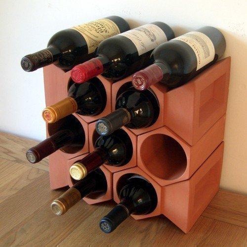 Weinregal, mit Schlusssteinen, für 10Flaschen, Terrakotta