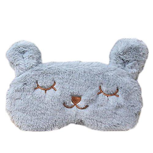 Geschlossene Kühlung (Leisial Netter Grau Kaninchen Augenmaske Damen Schlaf Augenmaske Kaninchen Augenmaske Kühlung/Heizung Augenmaske,20 * 10cm)
