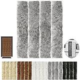 Flauschvorhang, Campingvorhang, Insektenschutz Uni farbend, Auswahl: Grau - Hellgrau 56 x 185 cm