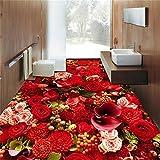 LANYU Floor Wallpaper Benutzerdefinierte Schöne Rose Sea Wohnzimmer 3D Bodenfliese Tapete, 250 * 175 cm