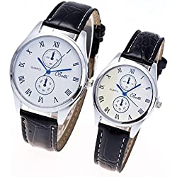 Jamicy® Fashion A Pair Womens Mens Leather Quartz Couple Wrist Watch