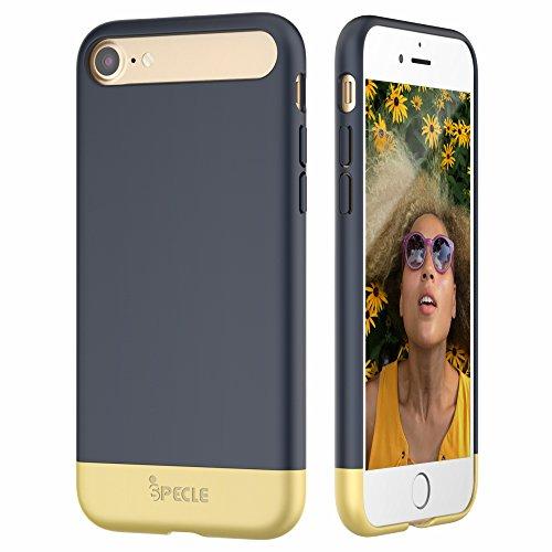 iSPECLE iPhone 7 Hülle 4.7 Inch, abziehbare und partial gleitende iPhone 7 Schutzhülle mit Materialmix aus dem hochwertigen PC- und TPU-Materialien sowie sowie abgehobene Lippen, optimaler Schutz für Apple iPhone 7 (in dunkelblau)