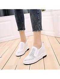 GTVERNH Zapatos de mujer/Verano/Prenda/Espray y Fondo grueso Hollowed Out transpirable 7Cm tacón alto aumento...