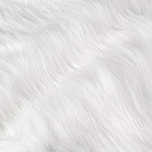 155 x 50cm Tissu Fausse Fourrure blanche à poils longs