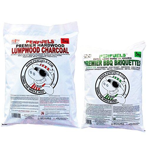 5kg Premier BBQ Briquettes : Extra Long Burn 4+ hours, Plus 5kg Lumpwood Charcoal (2)