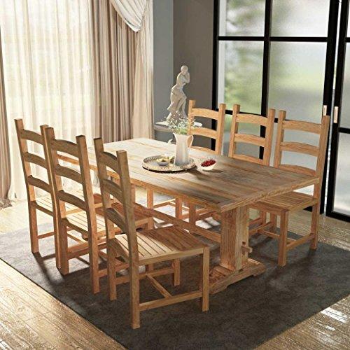 Lingjiushopping Set 7Stück große Tisch und Stühle Esszimmer Teak Material: Holz-Teak 100% mit Finish silberweiß Schleiftisch: 200x 100x 75cm (L x T x H) -