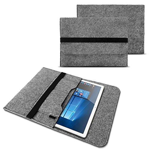 NAUC Sleeve Hülle für Tablet Notebook Tasche Laptop Cover strapazierfähiger Filz mit Innentaschen & sicherem Verschluss Grau, Tablet Modell für:BLAUPUNKT ENDEAVOUR 1000 WS, Farben:Hell Grau