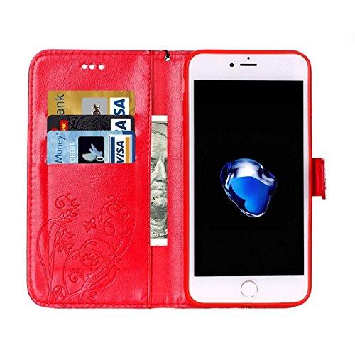 Hülle für iPhone 7 plus , Schutzhülle Für iPhone 7 Plus Herz Diamant verkrustete Blumen Prägung Horizontale Flip Leder Tasche mit Halter & Card Slots & Wallet & Lanyard ,hülle für iPhone 7 plus , case Red
