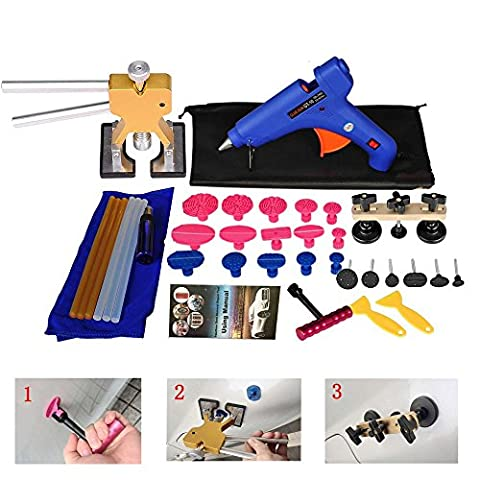Shitongda 37Pcs Paintless Dent Repair tools Of Dent Lifter, Bridge Puller Set Glue Stricks, Pro Pulling 15pcs Tabs
