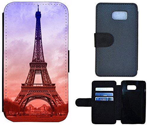 FioMi-Protect Schutz Hülle Flip Cover Handy Tasche Etui Case für (Samsung Galaxy S6 Edge G925, 1089 Eifelturm Paris Frankreich Blau Braun)