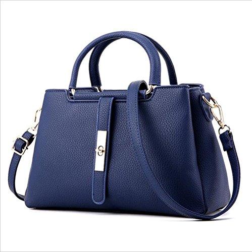 LDMB Damen-handtaschen Frauen PU-lederne bewegliche Schulter-Kurier-Handtasche Einfache wilde feste Farben-Einkaufstasche deep blue
