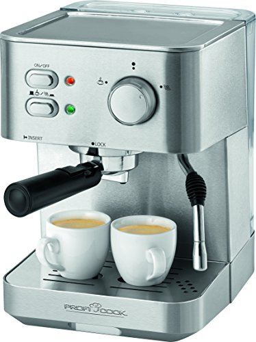 Profi Cook PC-ES 1109 Design Espressomaschine, Edelstahlgehäuse, abnehmbarer Wassertank,...