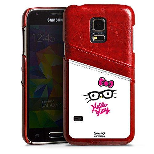 Samsung Galaxy S5 mini Lederhülle Leder Case mit Schlitz für Kreditkarte Brieftaschen Cover Hello Kitty Merchandise Fanartikel Kawaii