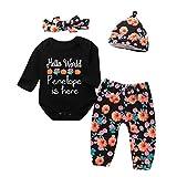 Fuibo Baby Halloween Kleidung, Neugeborenen Infant Baby Mädchen Jungen Brief Print Strampler Stirnbänder Hosen Cap Halloween Outfits (6-12M(90), Schwarz)