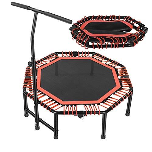 Bxxiu corrimano tappeti elastici indoor tappeti elastici sportivi 47 pollici portatili con braccioli regolabili, risvolto pieghevole, istruttore di aerobica silenziosa per adulti e bambini, carico ma