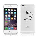 Cover iPhone 6, JAMMYLIZARD [Sketch] Custodia in Silicone Trasparente Semi Morbido Ultra Slim con Disegno per Apple iPhone 6 e Apple iPhone 6s, AEROPLANINO DI CARTA