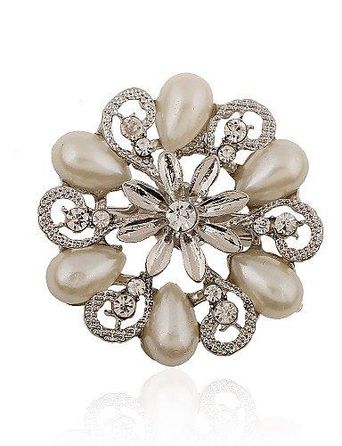placcato argento / imitazione perla / strass spilla / gocce d'acqua moda spilla fiore / partito / 1pc quotidiana