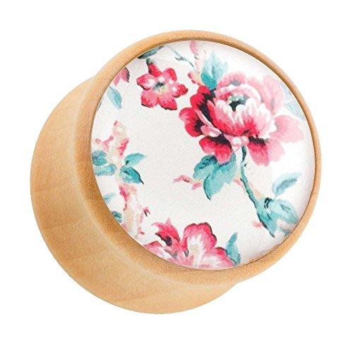 Piercingfaktor Ohr Plug Flesh Tunnel Piercing Ohrpiercing Holz Braun mit Rosen Blumen 10mm