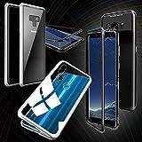 Wigento 360 Grad Magnet/Glas Case Bumper für viele Huawei Smartphone Modelle Tasche Case Hülle Cover, Magnet/Metall/Glas/Auswahl:Weiß/Silber/Transparent, Handy-Typ:P Smart 2019 / Honor 10 Lite