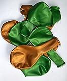 Sachsen Versand 50 grün-gold-metallic- Luft-Ballons-glänzend-metall-Feier-Deco-Geburtstag-Fete-Helium-geeignet EU Ware