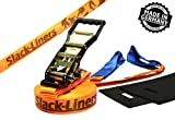 4 Teiliges Slackline-Set ORANGE - 50mm breit, 15m lang - mit Langhebelratsche - Slack-Liners - Made in Germany