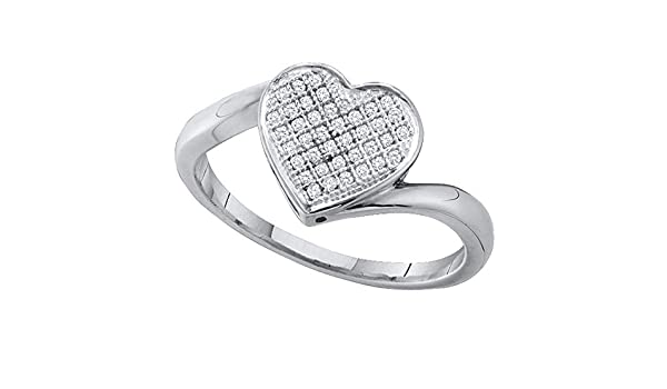 Sterling Silver Round Diamond Heart Love Ring 0.09 Cttw