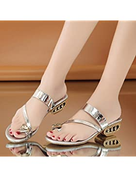 Semplice Crystal Sandali Pantofole Prezioso Lady 1-3Cm,Argenteo,Eu35